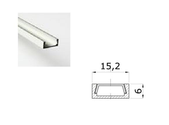 LED Profiel 03 | Small | 15,2 x 6mm | Opaal, PC, UV Bestendig | 1M