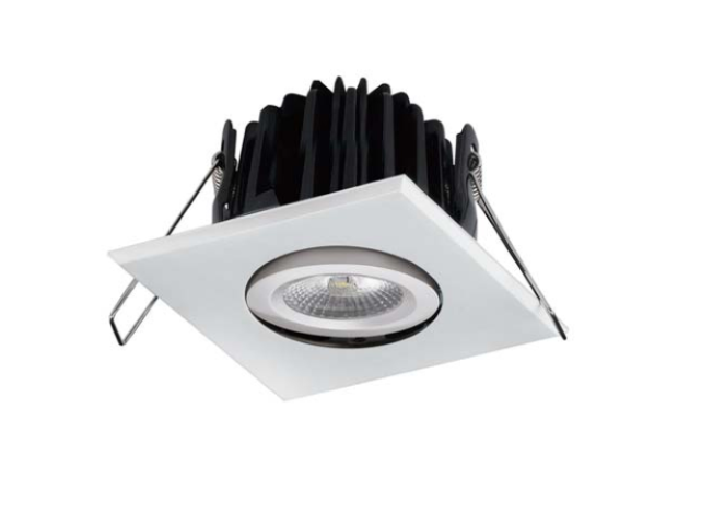 LED inbouwspot | 1 LEDs | Vierkant | 8W | Warm Wit | Chroom | IP54