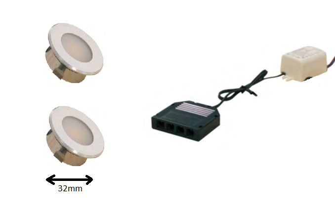 LED inbouwspot | 2 LED spots | 100Lm | Doe Het Zelf LED Kit | Warm Wit | DP05