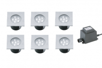 LED Grondspot Set | 12V | Vierkant | 6 x 1W | Wit